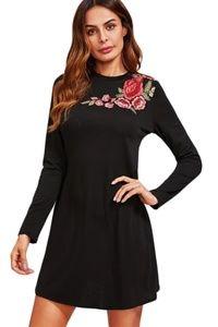 Dresses & Skirts - FLOWER EMBROIDERY TEE DRESS